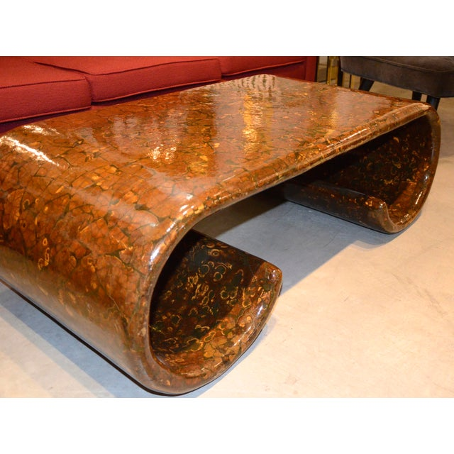 Mid Century Modern Karl Springer Style Scroll Base Coffee / Cocktail Table - Image 5 of 11