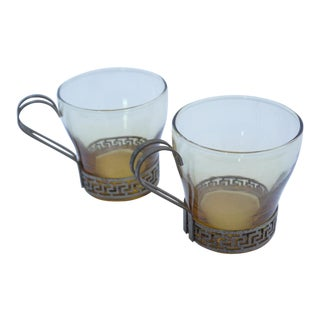 Art Deco Greek Key Coffee Cups - A Pair