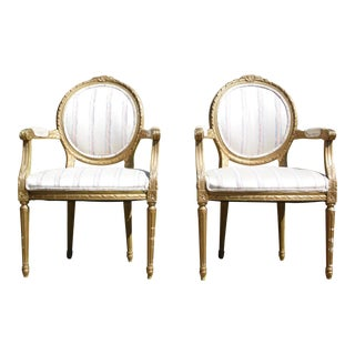 Antique Pair French Louis XVI Style Rococo Gold Gilt Accent Arm Chairs For Sale