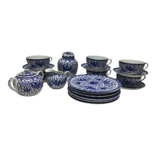 1930s Japanese Rising Phoenix Tea Cups & Dessert Set - Sevice for 6 For Sale