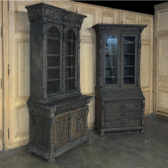 This stunning 19th Century English Renaissance Secretary ~ Bookcase provides display, storage, and a writing surface, with...