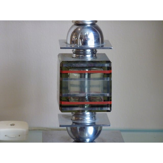 French Art Deco Chrome & Glass Mini Lamp - Image 4 of 5