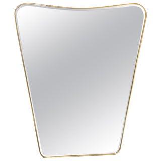 Oversized Italian Minimal Curvilinear Brass Mirror, 1950s