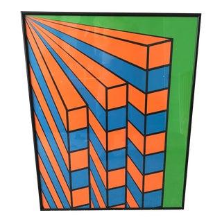 "1968 ""Iron Butterfly"" Geometric Pop Art Screen Print by Nicholas Krushenick, Framed For Sale"