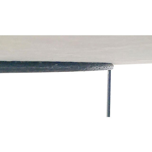 20th Century Contemporary Round Travertine & Iron Dining Table For Sale In Atlanta - Image 6 of 9