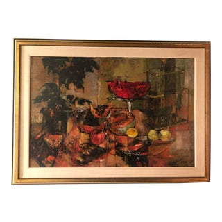 Original Mid Century Modern Jenny Tomao Abstract Still Life Painting For Sale