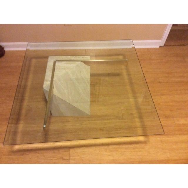 Mid-Century Travertine Glass Coffee Table - Image 5 of 5
