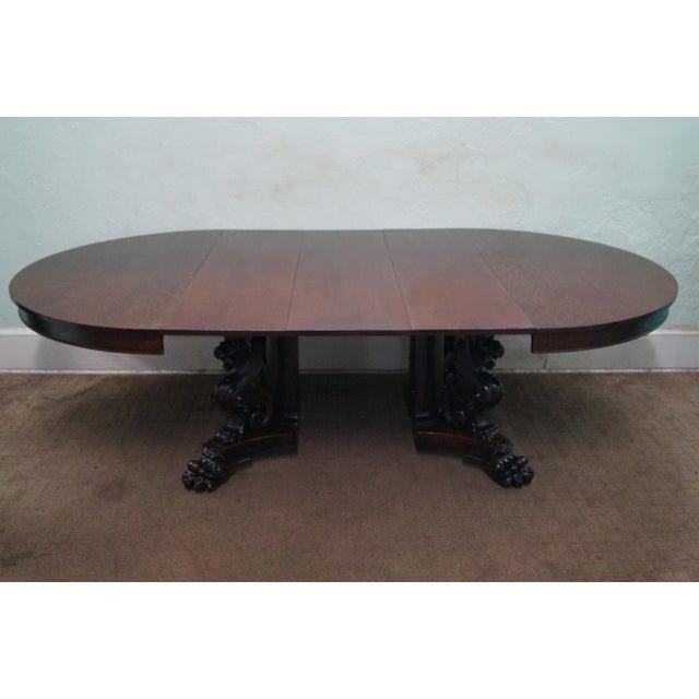 RJ Horner Antique Round Oak Griffin Dining Table - Image 8 of 10