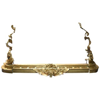 French Louis XV Style Rococo Bronze Chenets For Sale