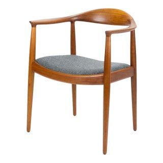 1950s Vintage Hans Wegner for Johannes Hansen Teak Round Chair For Sale