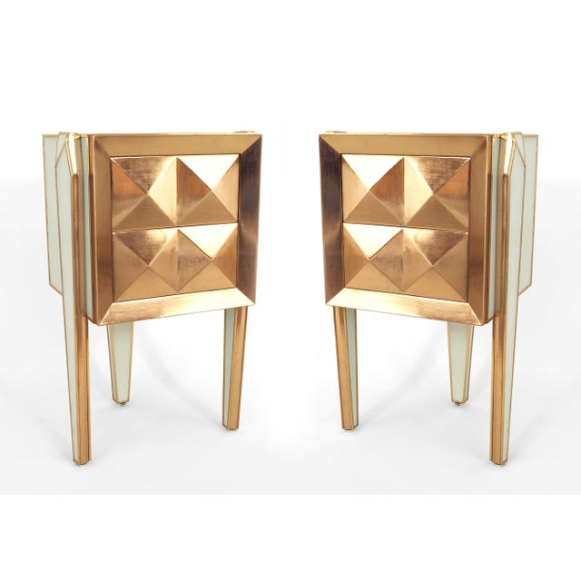Gold Pair of Limited Edition Giltwood With White Glass and Brass Side Commodes For Sale - Image 8 of 8