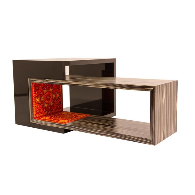 Contemporary rosewood and bead coffee table by Alire De Alvarez For Sale - Image 4 of 6