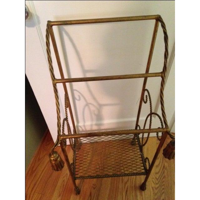 Vintage Italian Gold Leaf Towel Stand - Image 3 of 4