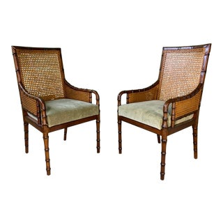 Pair of Cane Back Faux Bamboo Arm Chairs by Palecek For Sale