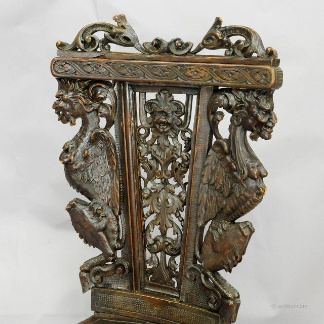Mid 20th Century A Great Renaissance Style Italian Sgabello Chair Ca. 1860 For Sale - Image 5 of 13