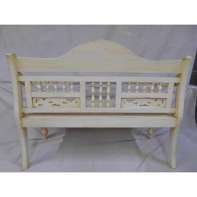 Late 20th Century Painted and Distressed French Country Garden Bench For Sale - Image 11 of 13