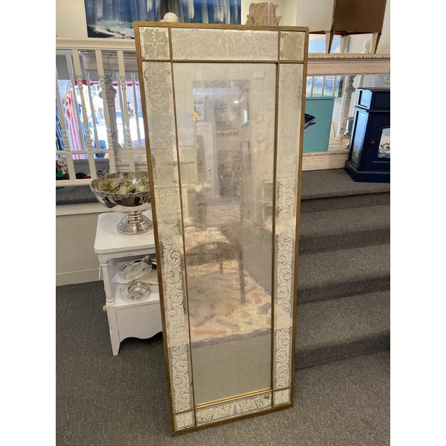 Glass Antique 1920s White Gold Leaf Floor Mirror For Sale - Image 7 of 7