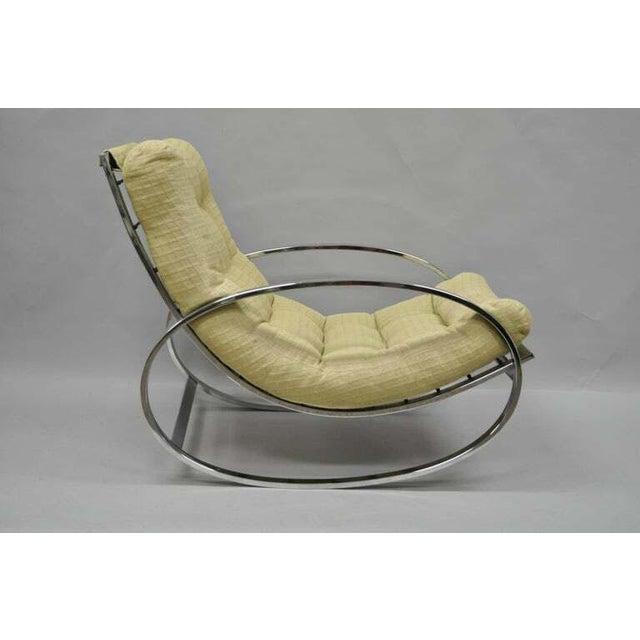 Mid Century Modern Renato Zevi Selig Ellipse Milo Baughman Chrome Rocking Chair For Sale - Image 10 of 10