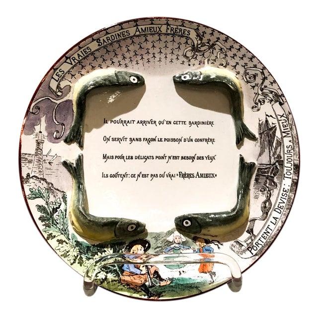 Majolica Sardine Plate, France 19th Century For Sale