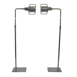Koch & Lowy Chrome Floor Lamps C.1970 - A Pair For Sale