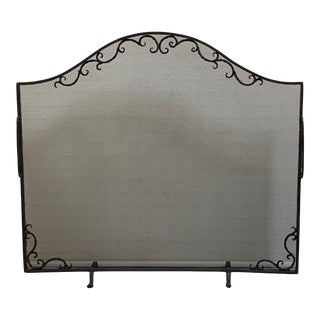 Wrought Iron Fire Screen With Twisted Handles For Sale