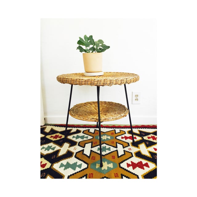 Mid Century Round Wicker Side Table on Metal Base - Image 2 of 10
