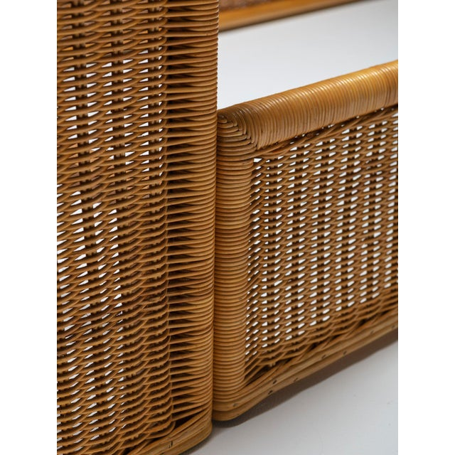 Adalberto Dal Lago Pair of Single Bed Wicker Frame by Adalberto Dal Lago for Germa For Sale - Image 4 of 7
