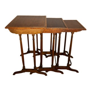 1840 Regency Style English Mahogany Branded Nest Tables - Set of 3 For Sale