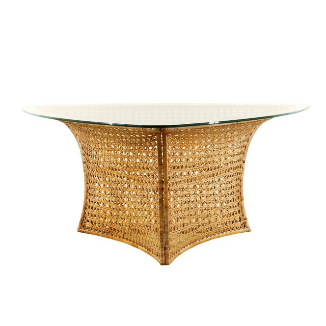Fantastic Vintage Rattan Triangle Base Dining or Game Table by Danny Ho Fong For Sale - Image 9 of 9