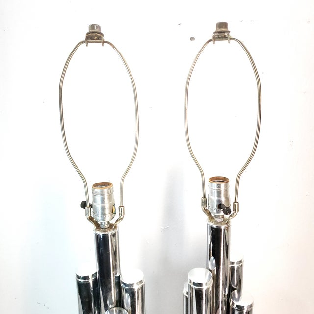 1960s Mid Century Modern Chrome Table Lamp Cylinder Sculptural - a Pair For Sale - Image 4 of 9