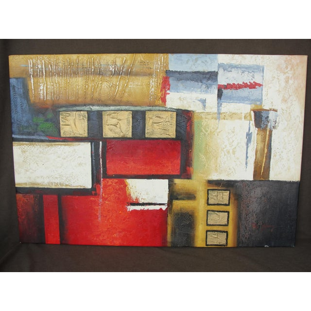 This is a very cool geometric abstract expressionist oil on canvas painting in reds, whites, and black and gold. The...