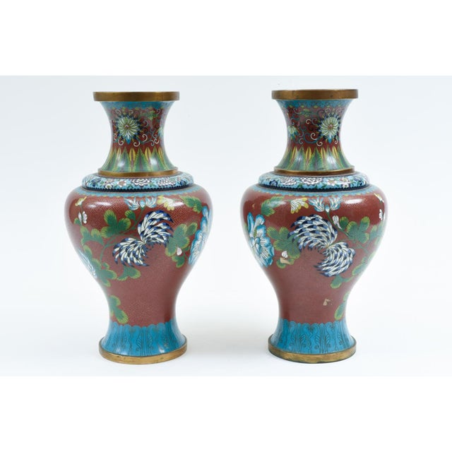 Red Late 19th Century Cloisonné Floral Decorative Vases - a Pair For Sale - Image 8 of 13