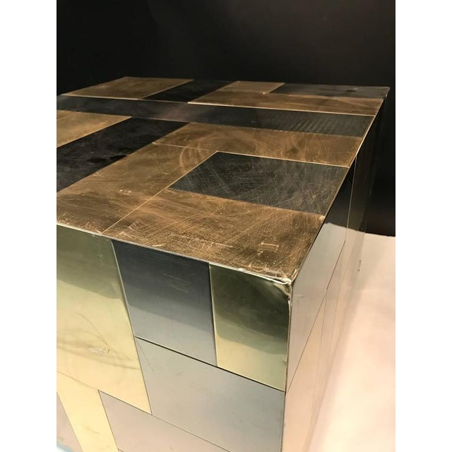 Modern UNUSUAL CUBE-SHAPED BRASS AND CHROME PATCHWORK TABLE BY PAUL EVANS For Sale - Image 3 of 9