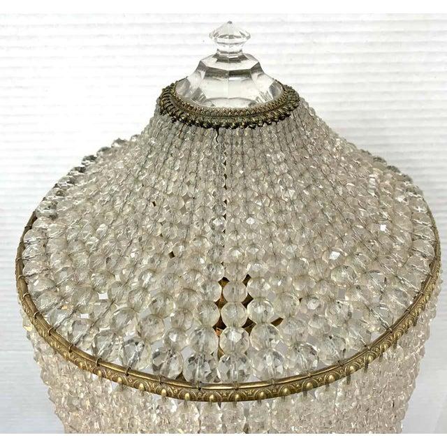 Austrian Art Deco Crystal & Bronze Boudoir Lamp, With Sphinx Feet For Sale - Image 9 of 10