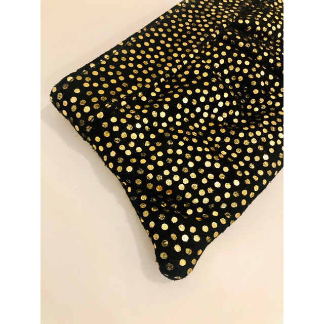 Mid-Century Modern Lauren Merkin 1980s Style Black Suede Clutch With Metallic Gold Polka Dots For Sale - Image 3 of 8