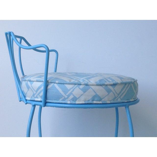 Blue Mid-Century Blue Metal Vanity Stool For Sale - Image 8 of 11