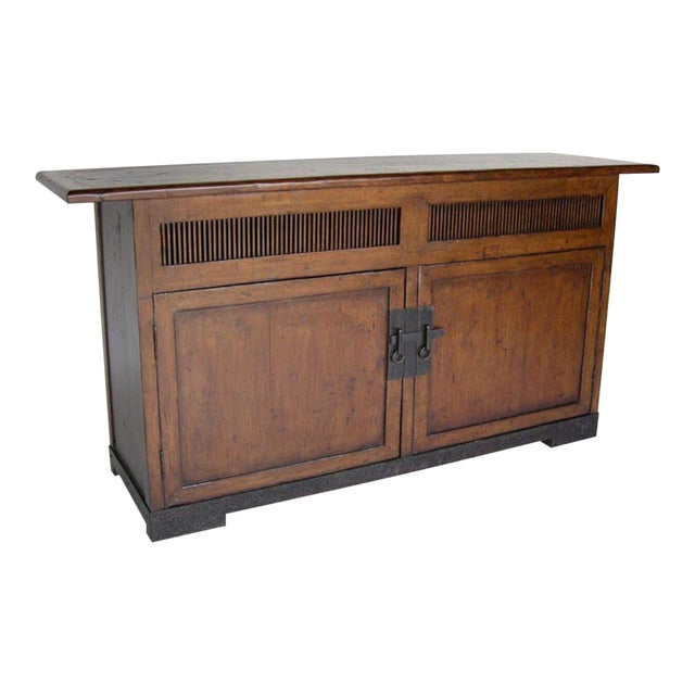 Custom Walnut Wood Media Console on Iron Base For Sale