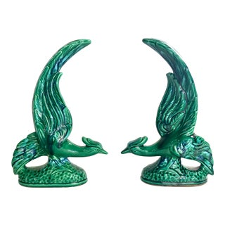 Vintage Ceramic Majolica Glazed Green and Blue Pheasant Figurines For Sale