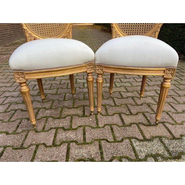 New 4 Chairs in Antique Gold Finish For Sale - Image 6 of 8