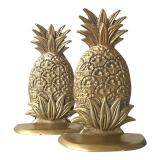 Vintage Brass Pineapple Bookends - A Pair