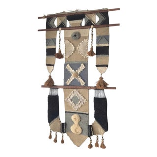 Mid Century Don Freedman Woven Wall Hanging Fiber Art Tribal For Sale