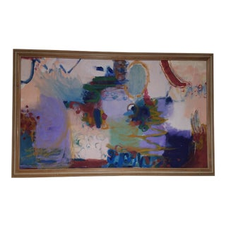 Modern Abstract Painting Pittsburgh Bird's Eye View, Oversized, Wood Frame