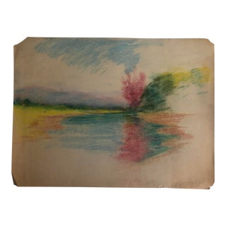 1920s Landscape Pastel Drawing by B a Harnett For Sale