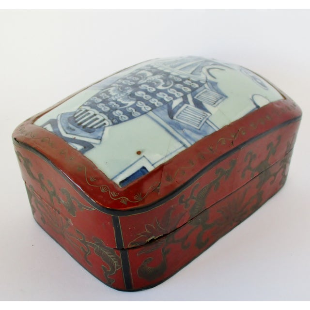 Asian Vintage Chinese Lacquered Box For Sale - Image 3 of 10