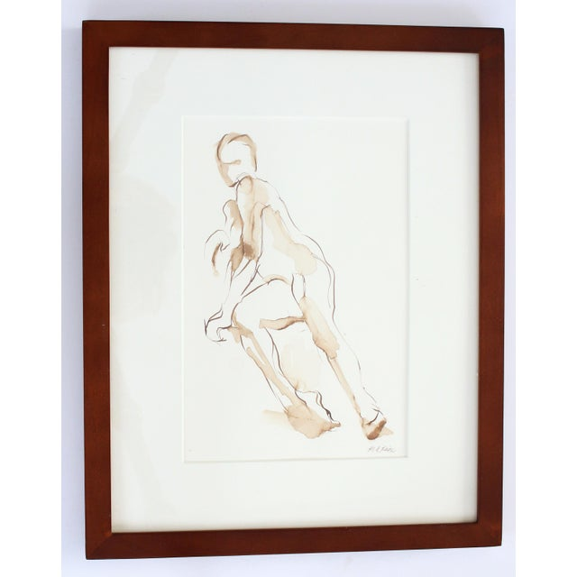 2010s Contemporary Original Figure Pen and Ink Drawing of Seated Nude by Michelle Arnold Paine - Framed For Sale - Image 5 of 5