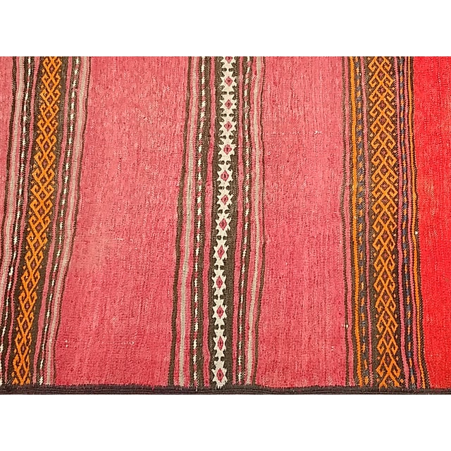 1950s Moroccan Red and Orange Wool Kilim Runner - Image 2 of 9