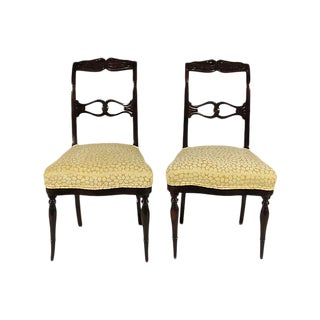 19th-C. Antique Swedish Side Chairs - a Pair
