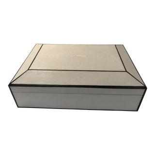 Ebony Inlay & Natural Shagreen Box For Sale