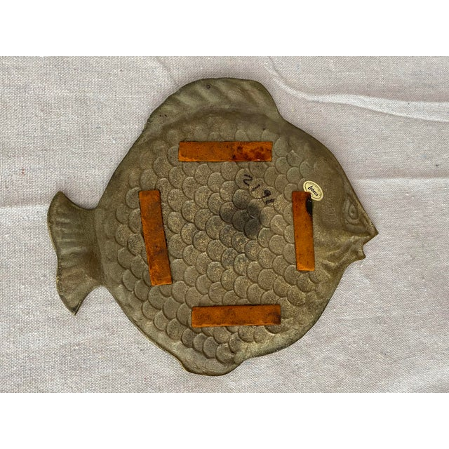 Mid 20th Century Vintage Brass Fish Plate For Sale - Image 5 of 6