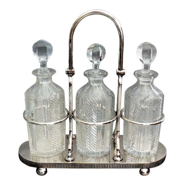 Silver Plate & Crystal Liquor Tantalus For Sale
